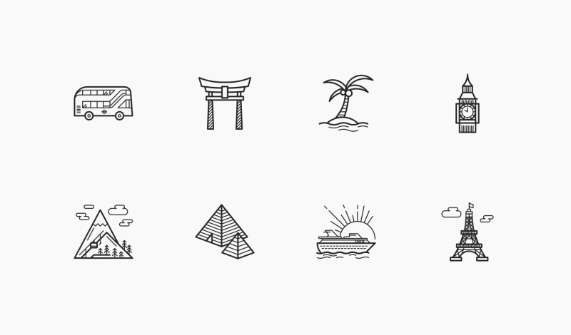 Travel and Heritage place icons by Danil Polshin