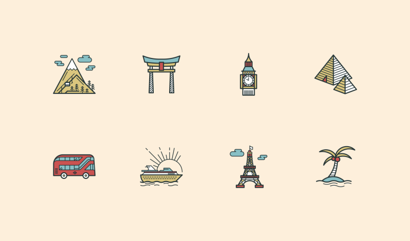 Travel and Holidays icon collection by Danil Polshin