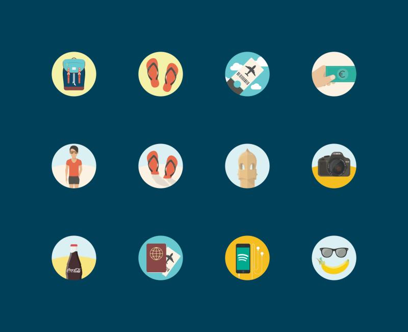 Travel and Holidays icons by Sergei Kokota