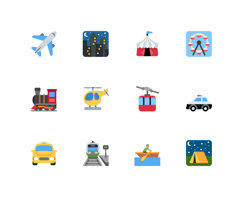 Travel and Places emojis by Twitter