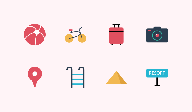 Travel and Vacation icons by Alfredo Hernandez