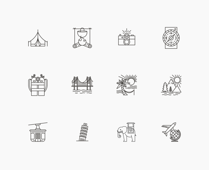 Travel icon collection by Danil Polshin