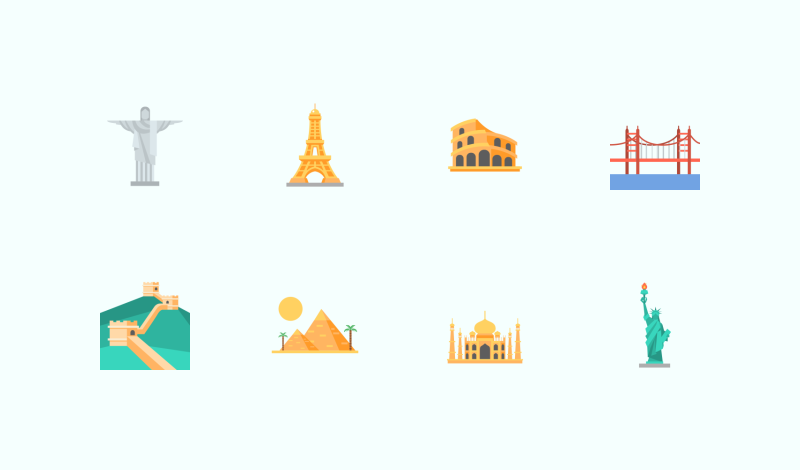 Travelling and Heritage icon set by Flat-Icons