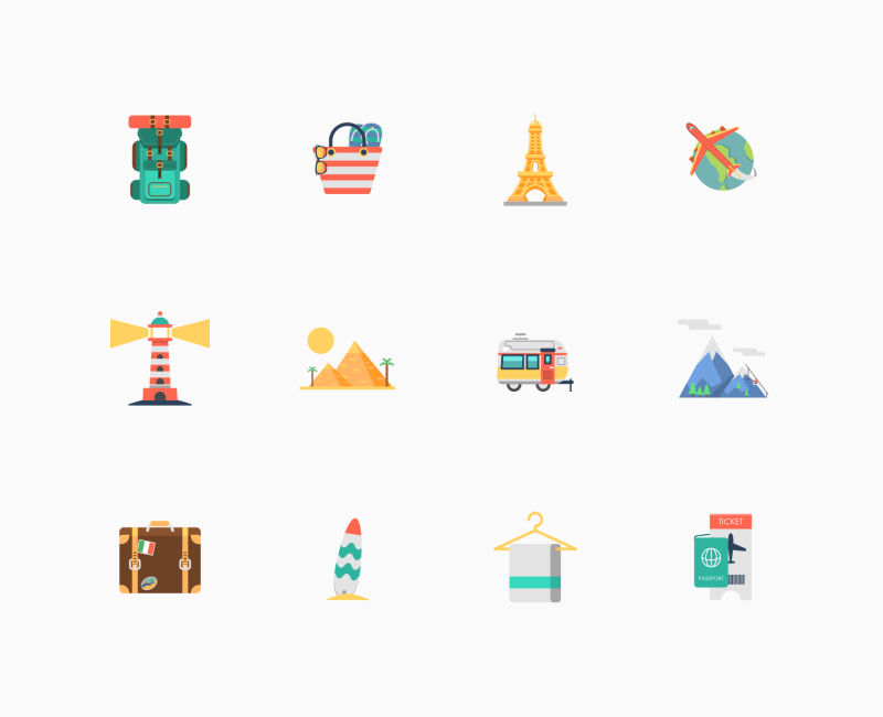 Travelling icon set by Flat-Icons