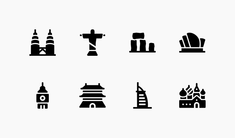 World Landmark icon set by Andrejs Kirma