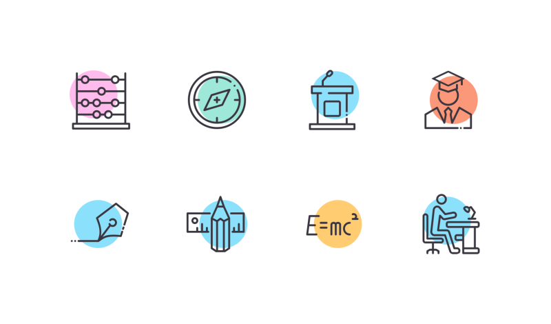 Education icons by Vignesh Oviyan