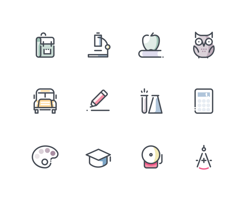 School icons by Sergei Kokota