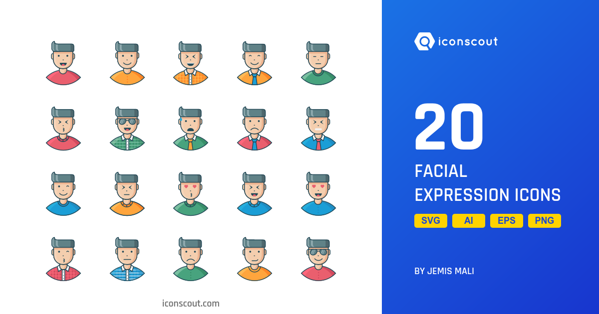 Facial Expression icons by Jemis Mali