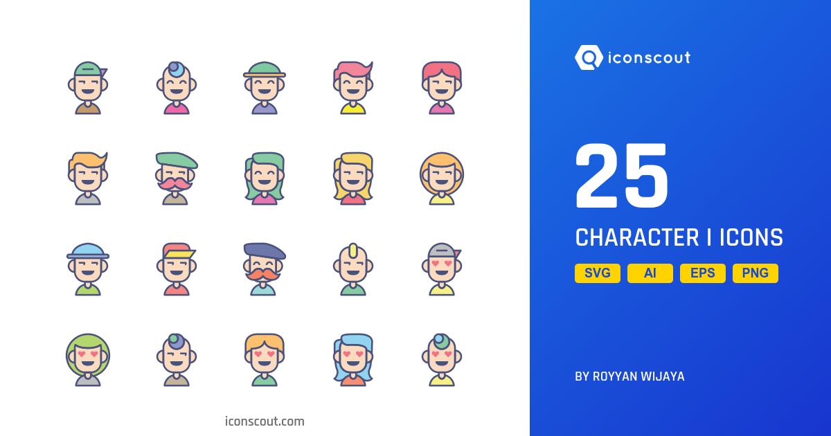 Character I icons by Royyan Wijaya