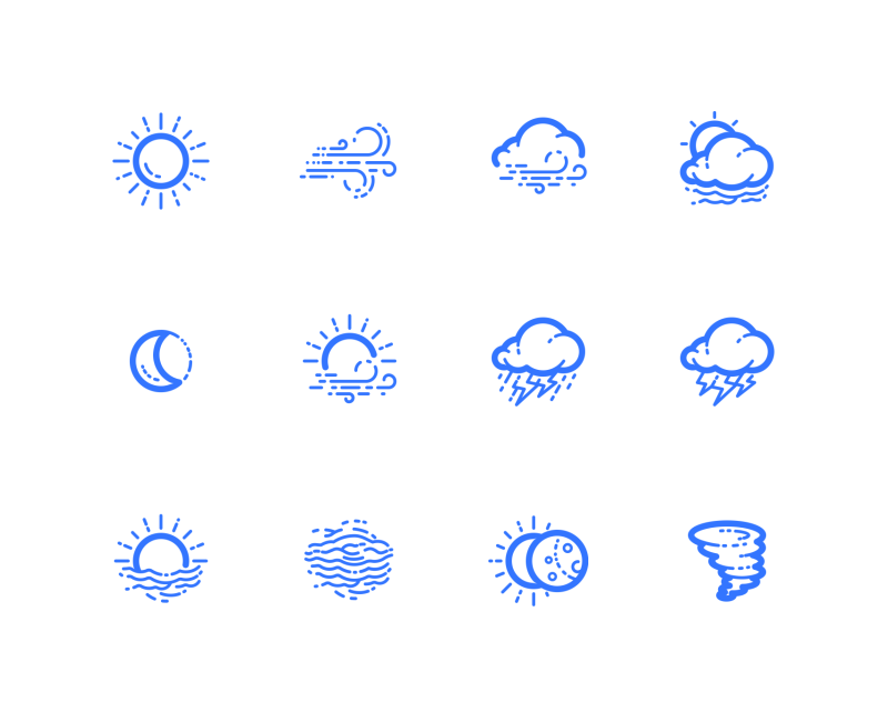 Clouds And Precipitation (Outline) icons by Kirill Kazachek