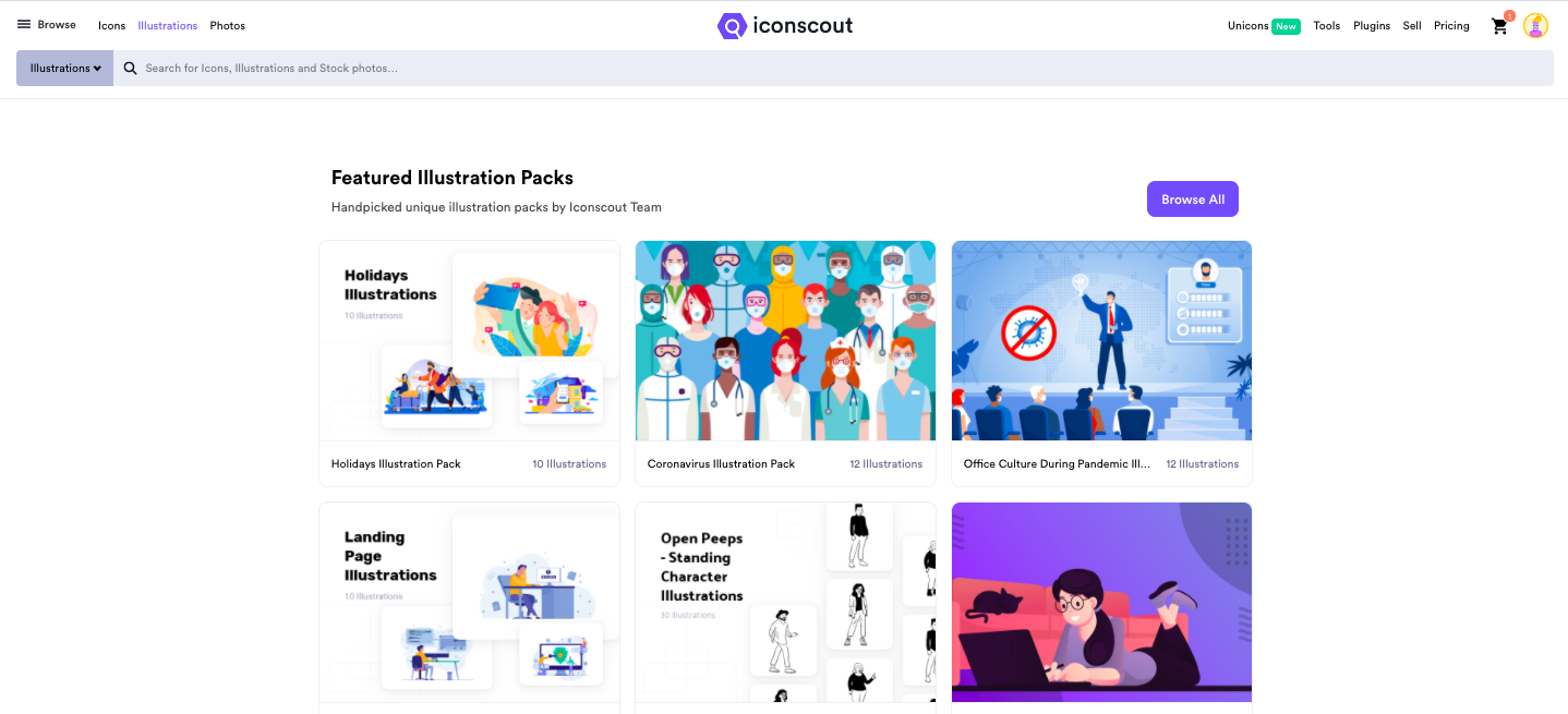 Iconscout Illustration library