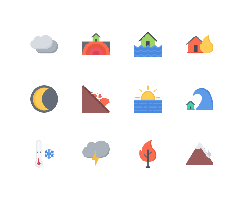 Weather Flat icons by Nikita Golubev