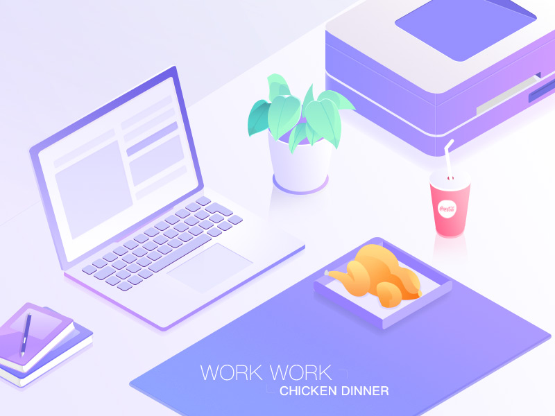Work time illustration by Guzman