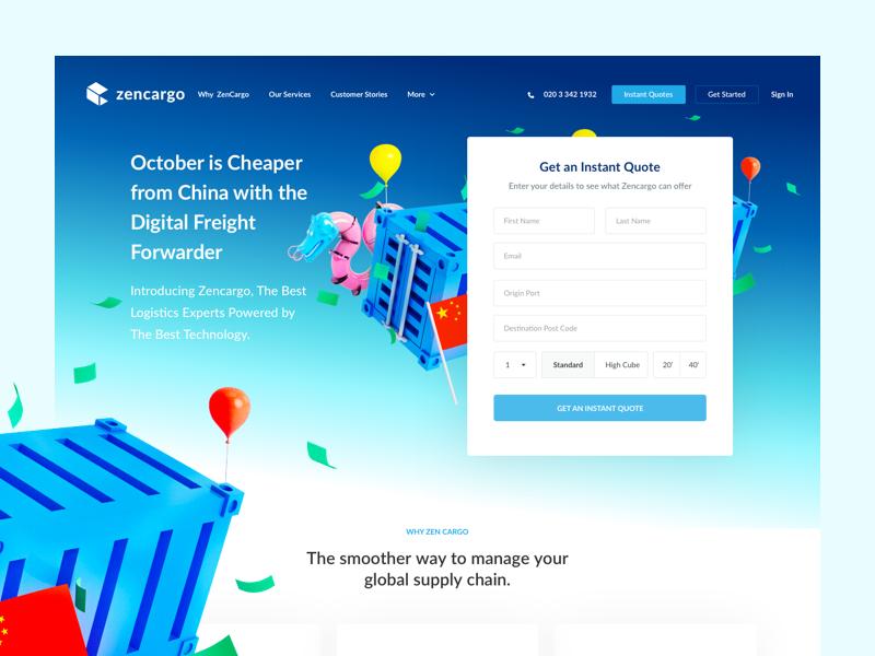 Landing Page design for Zencargo