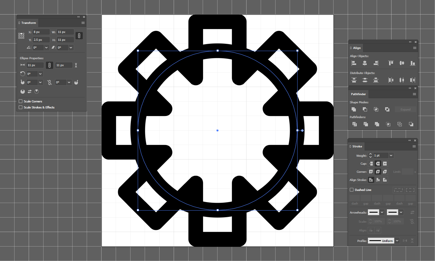 Create Circle and align it to center