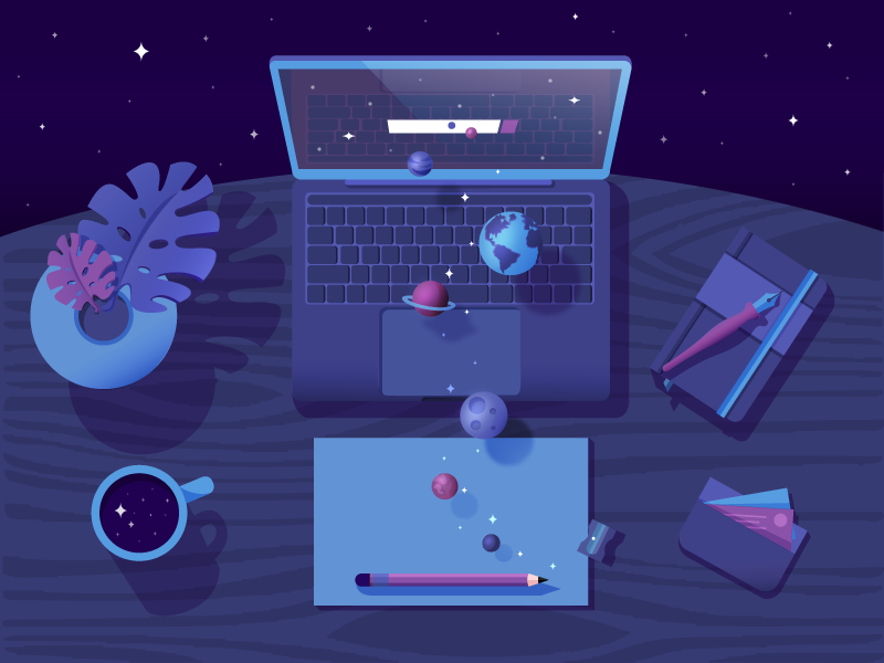 Desk with space illustration by Joanna Nowak