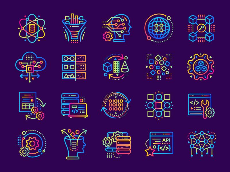 Data Science gradient icons by Vyshnevskyy