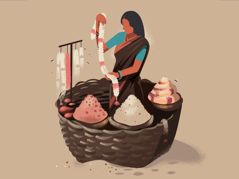 Basket of Flowers by Ranganath Krishnamani