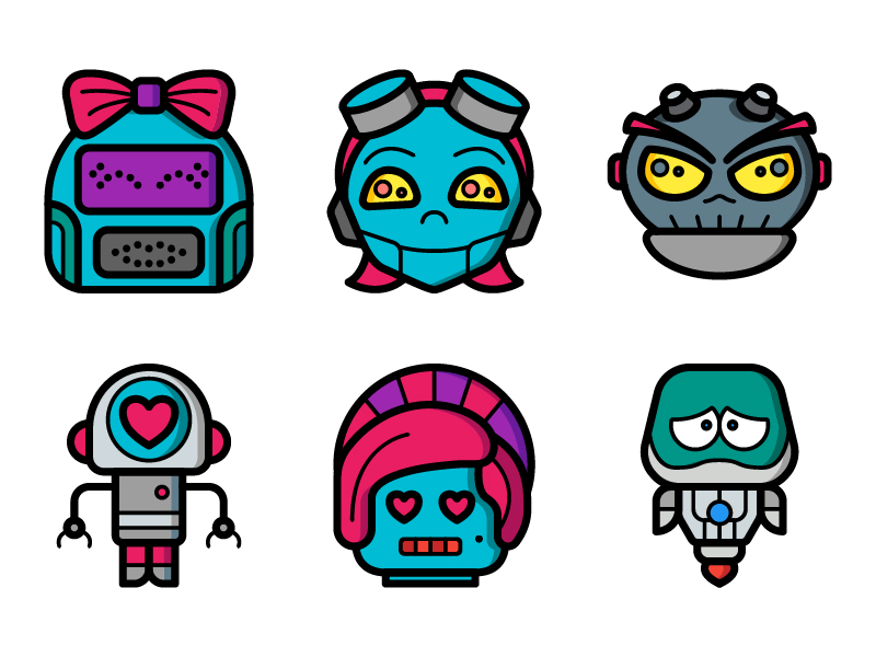 Robot Avatar icons by Ben Davis