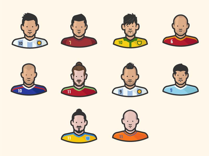 Footballers characters by Scott Lewis