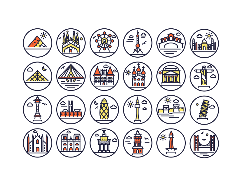 Landmark Outline Icons by Dighital