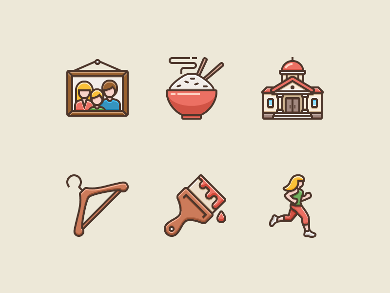 Icons for Language Learning app by Tanya Buhinskaya