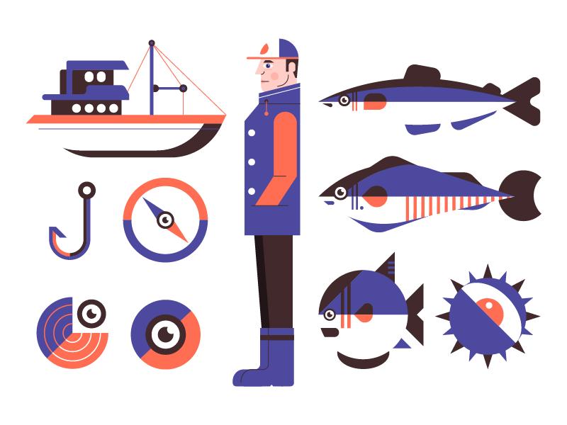 Fishing icons by Kemal Sanli