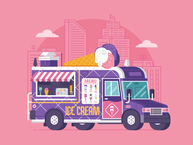 Summer Ice Cream Truck Illustration by Aliaksei Kruhlenia
