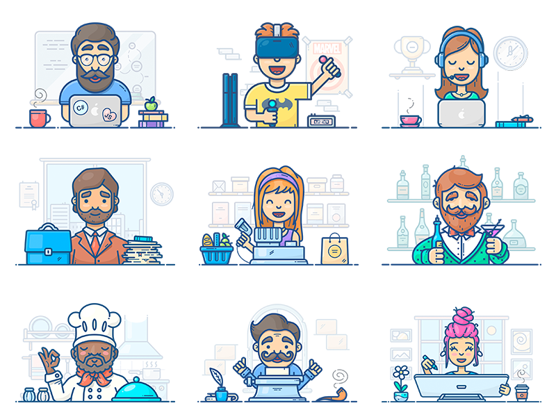 people-at-work-icons-by-alex-kunchevsky