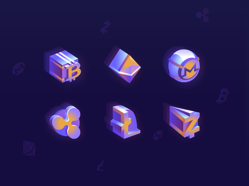 Cryptocurrency Icons by Outcrowd