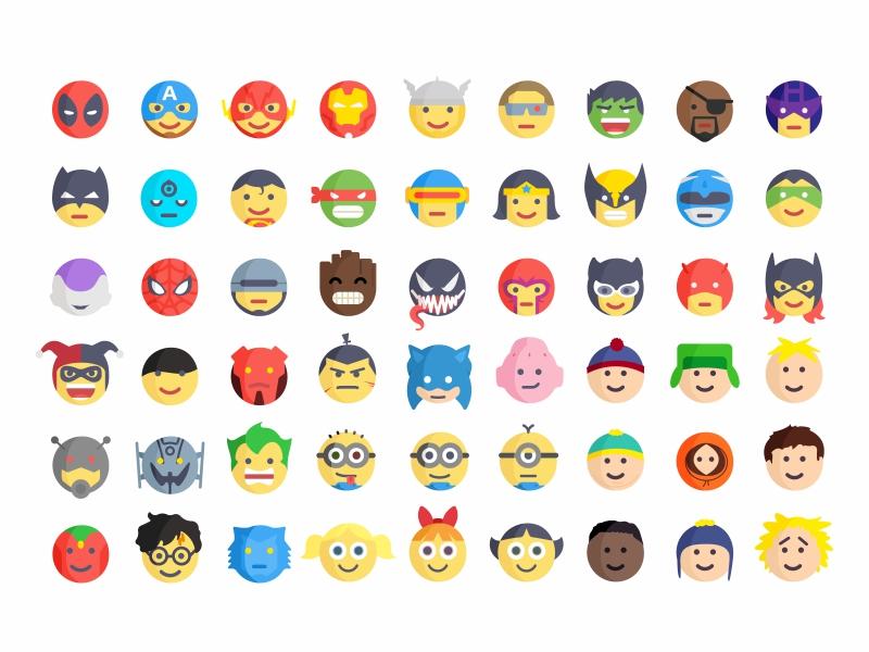 Superheroes And Villains Emoji by Aleksandar Savic