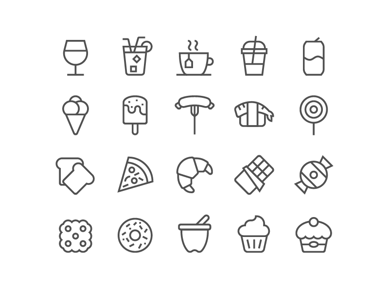 Tasty Food Icons by Pictogrammer