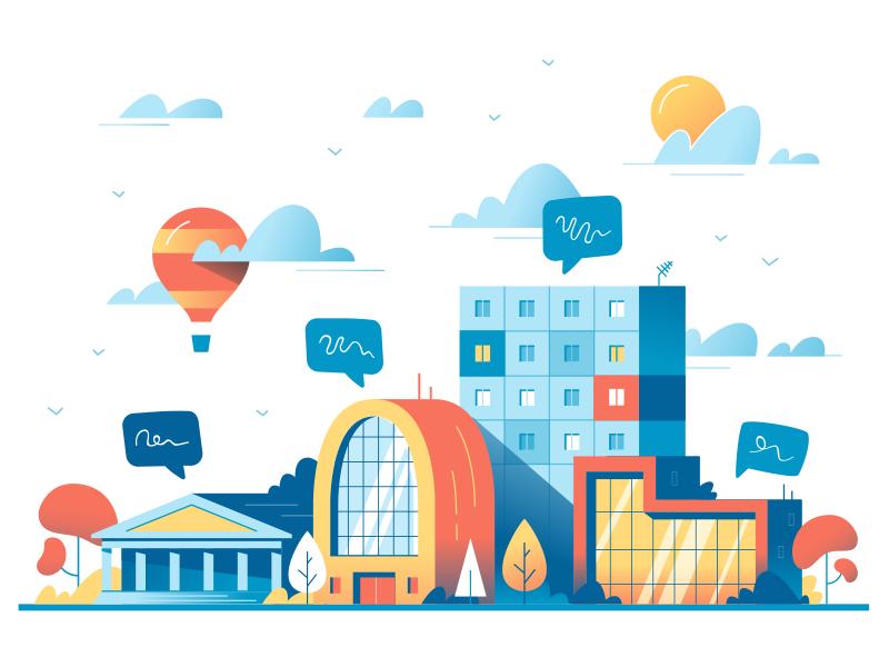 Big City Life Illustration by Alexandrov Alexandr