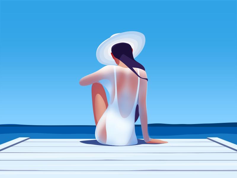 Catching the sun illustration by Ksenia Shokorova