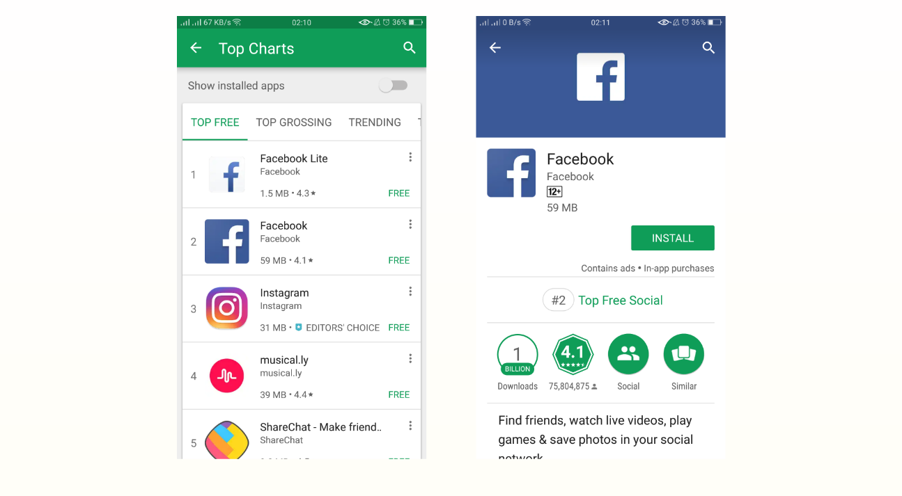 An example of earned trigger: Facebook has top mentions on Google Play Store.