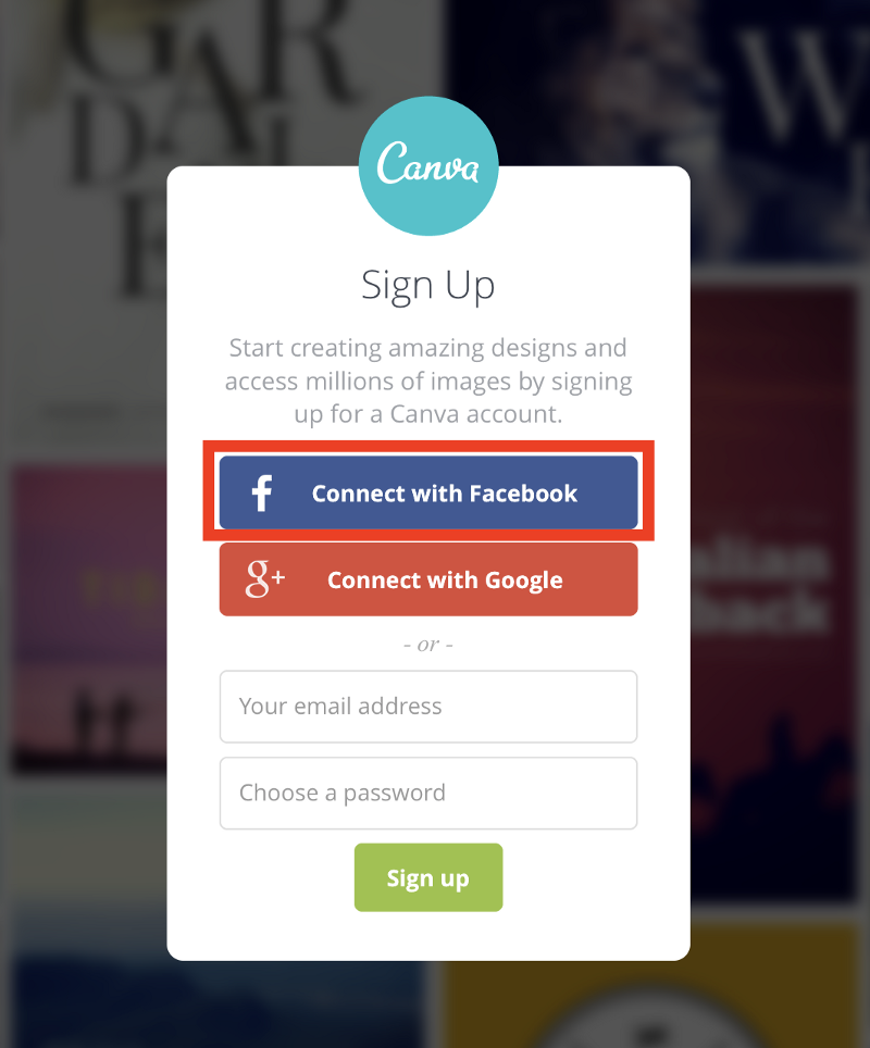 Sign Up with Facebook prompt is just too easy to start using any service