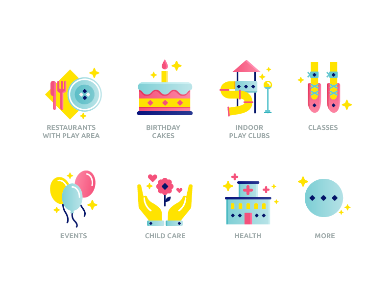 Kids Center site icons by SugarDesign