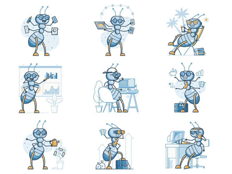 ant accountant character by Aliaksei Kruhlenia