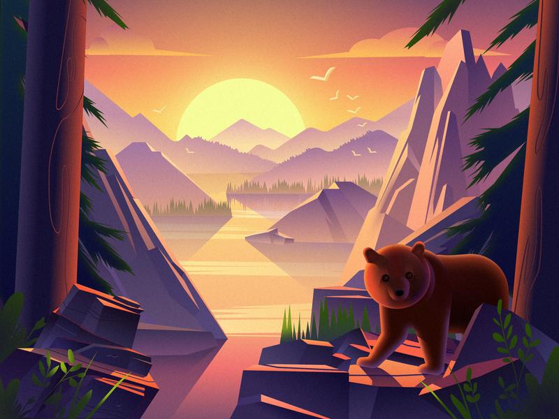 bear and hills by Sansheng for B&B