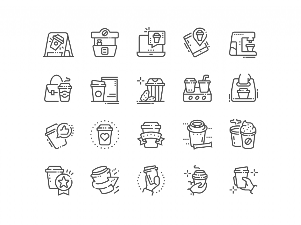 Coffee to go icons by pictogramer