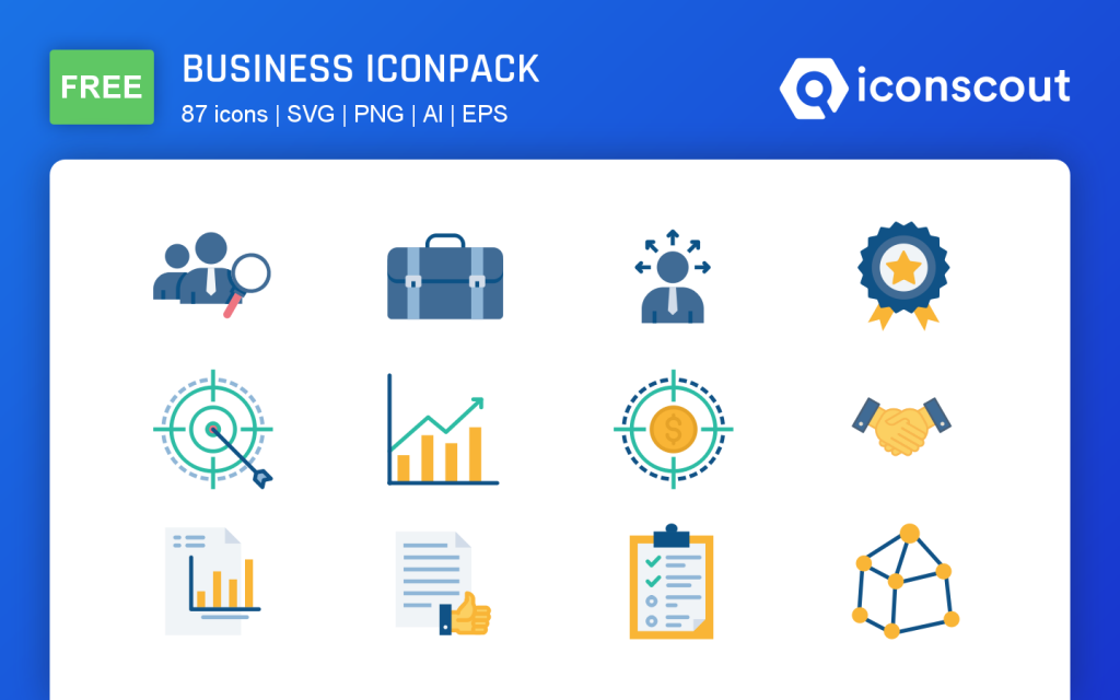 Business icon pack mockup preview for design assets