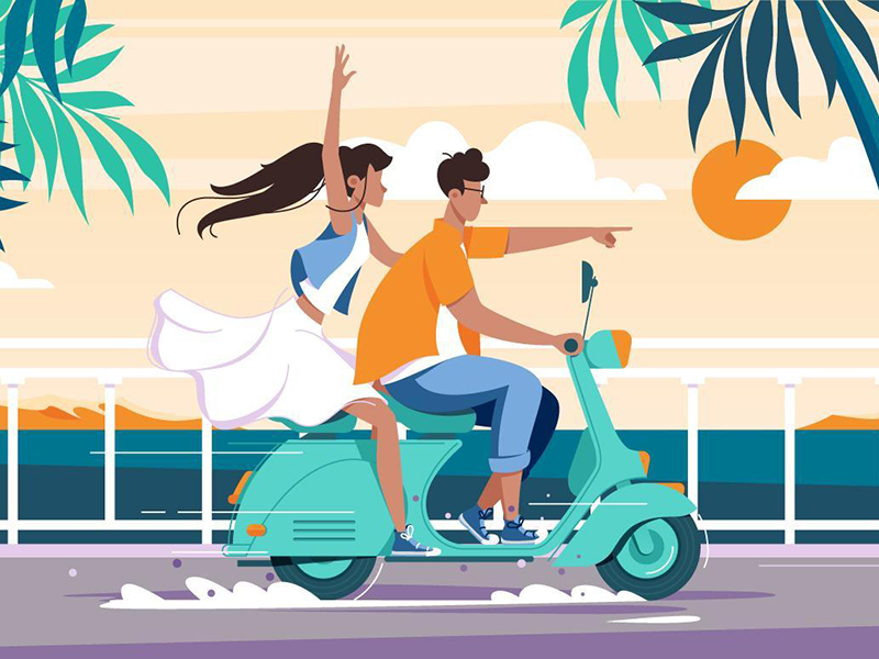 Couple riding on bike by Kit8 in Iconscout's Design Inspiration