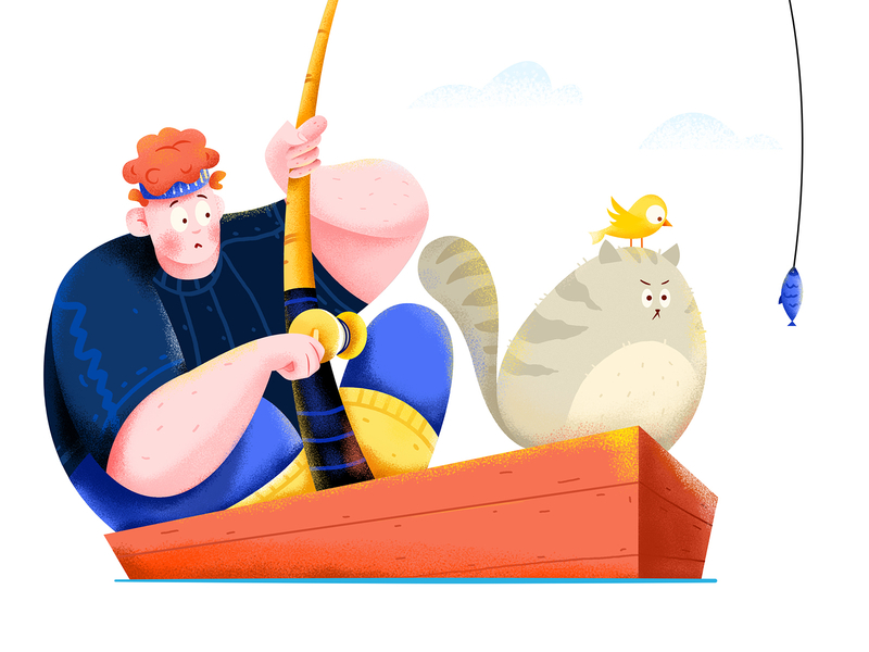 Fishing by Uran for Fireart Studio in Illustration in Iconscout's Design Inspiration