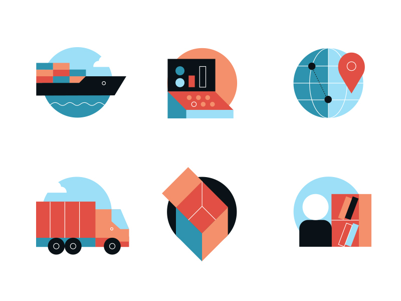logistic icons by koivo in Iconscout's weekly design inspiration