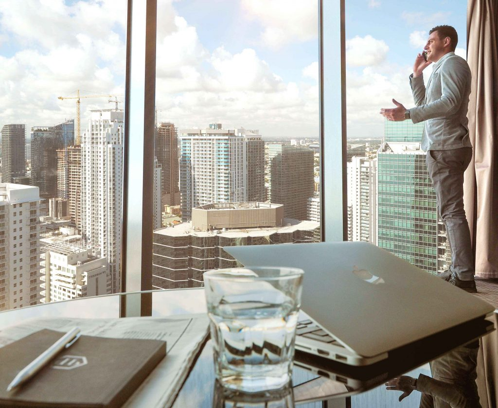 Man Standing On Top Of The Office