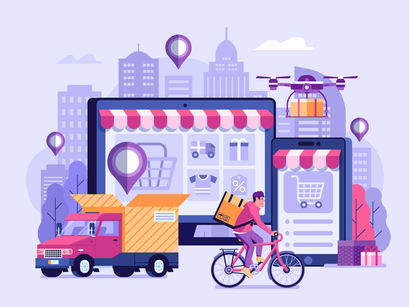 Online Delivery illustration by Aliaksei Kruhlenia in Iconscout's Design Inspiration