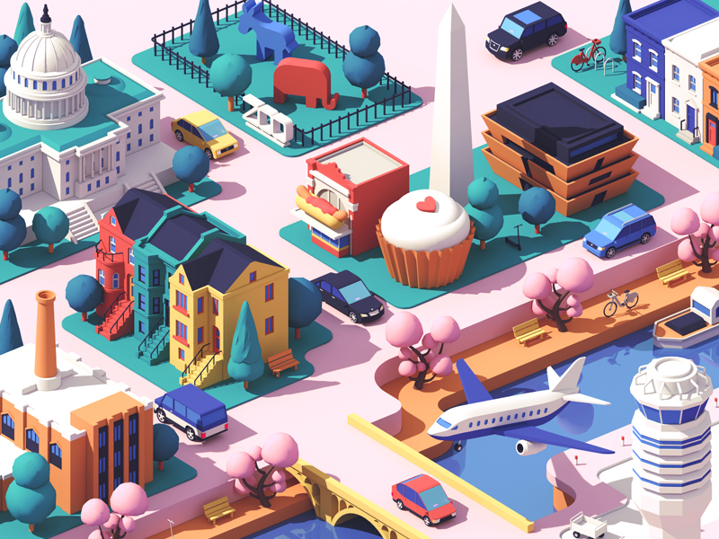 washington DC city landscape 3D illustration by Guillaume Kurkdjian
