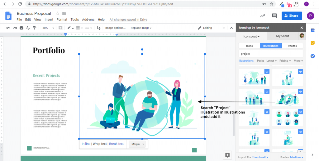 Search Project Illustration in Illustrations and add it