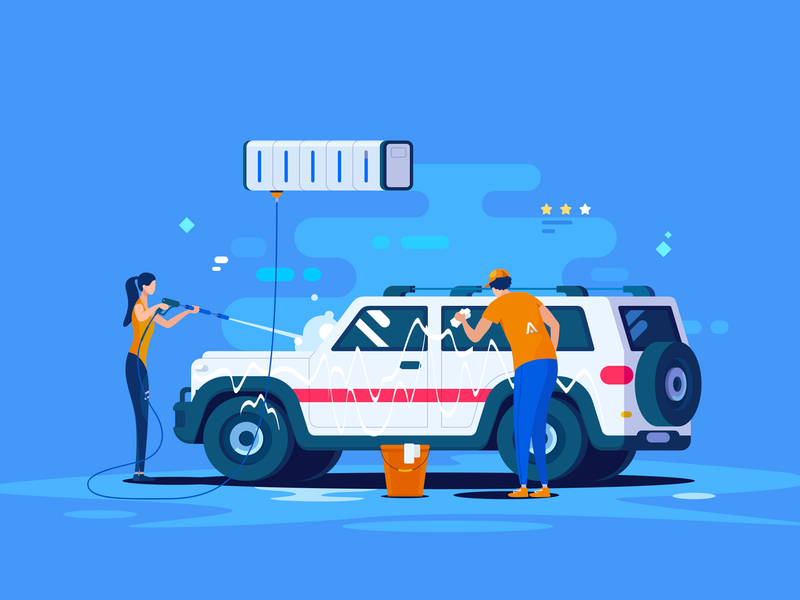 Car Wash illustration by 小五 for innn in Automobile service
