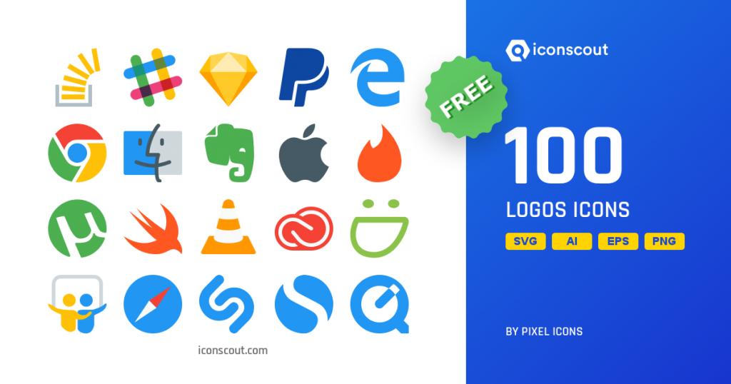 Logos flat Icon collection